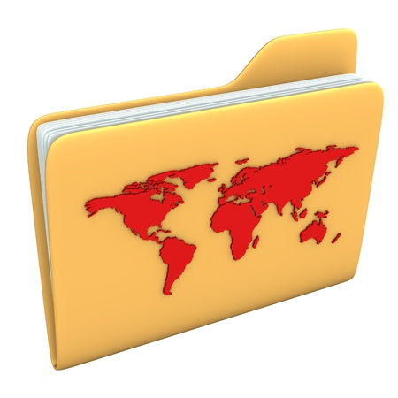 Yellow folder with world map on the white background Stock Photo - 15234446