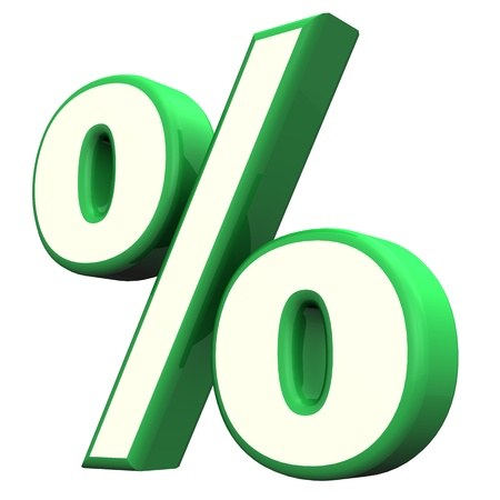 deduction: Green per cent symbol  on the white background  Stock Photo