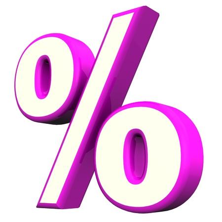 economize: Purple per cent symbol  on the white background