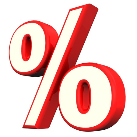 economize: Red per cent symbol  on the white background