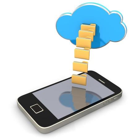 directorio telefonico: Smartphone con las carpetas de una nube en el fondo blanco