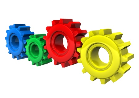 Colored gear wheels on the white background  photo