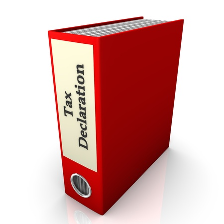 filling folder: Red folder with text  tax declaration   White background