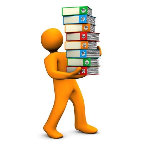 batch: Orange cartoon character bears a batch of folders  White background  Stock Photo