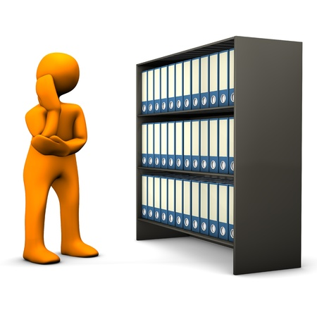 sorting: Orange cartoon character searches in a file cabinet and cogitates  White background