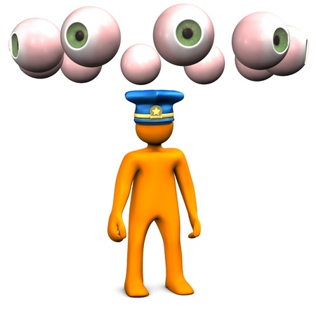 spying: Orange cartoon characters with police cap and a lot of eyes on the white background