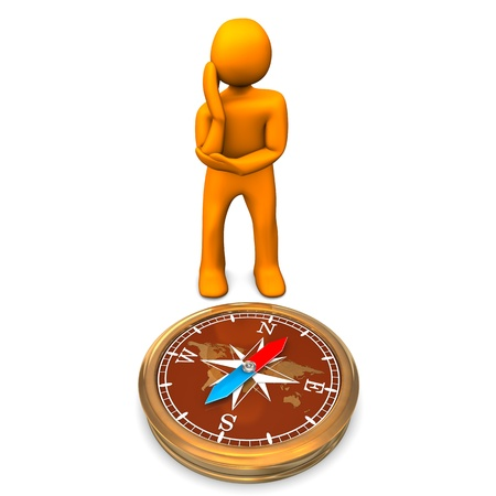 contemplates: Orange cartoon character contemplates against a compass  White background  Stock Photo
