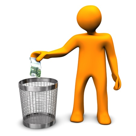waste basket: Orange cartoon character throws european banknote in the wastebasket.