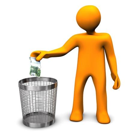 waste money: Orange cartoon character throws european banknote in the wastebasket.
