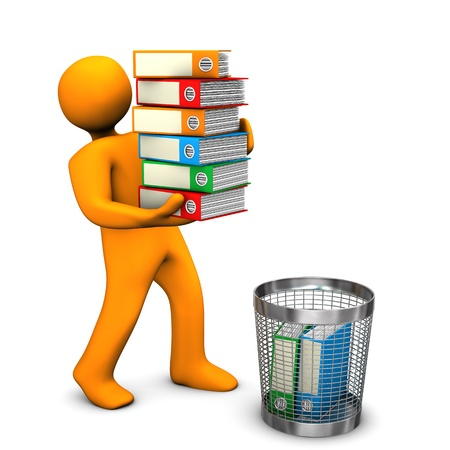 trash basket: Orange cartoon character throws folders in the wastebasket. Stock Photo