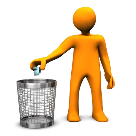 dustbin: Orange cartoon character throws crumpled paper in the wastebasket.
