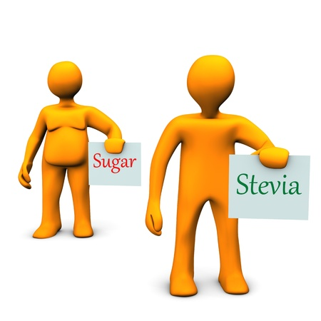 Personaggi dei cartoni animati arancione con la stevia e zucchero. Archivio Fotografico - 15389572