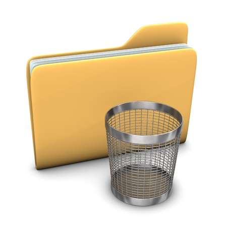archives: A big folder with a steel wastebasket on the white background. Stock Photo