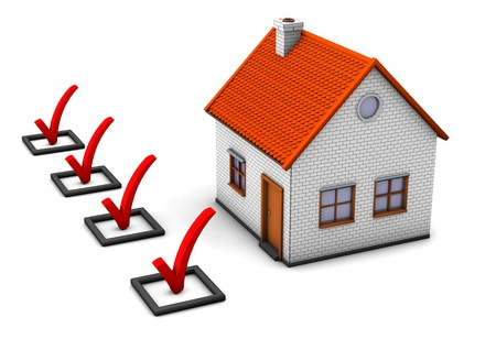 checklist: 3d illustration of house with ckecklist. White background.