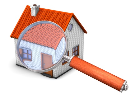intranet: House with big loupe on the white background. Stock Photo