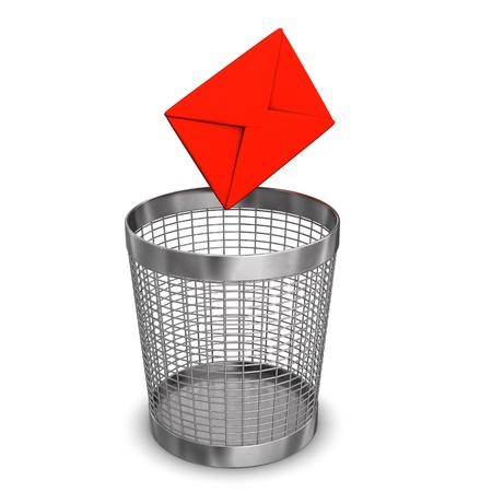 junk mail: Red email and steel wastebasket on the white background. Stock Photo