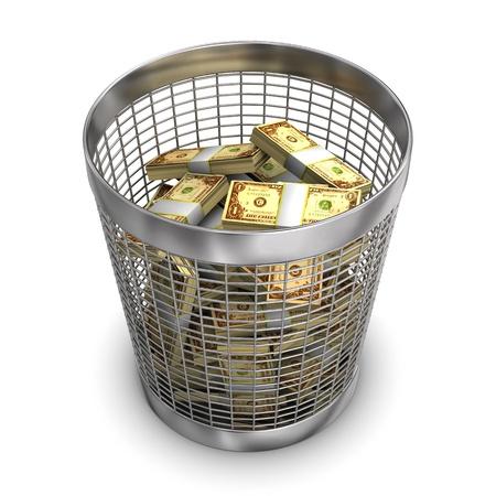 wastebasket: A full wastebasket with dollars. White background.