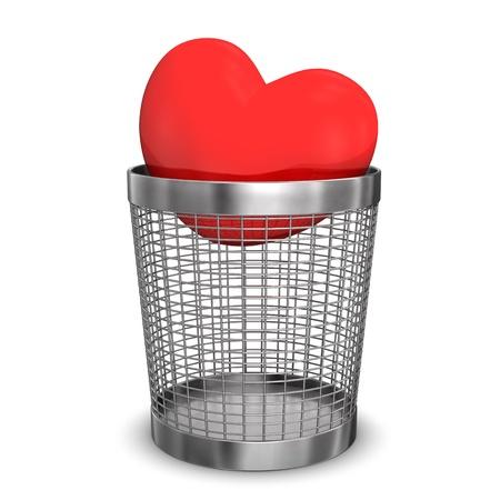 wastebasket: Red heart in a wastebasket. White background.