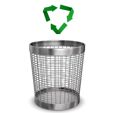 wastebasket: Steel wastebasket with a recycling symbol. White background.