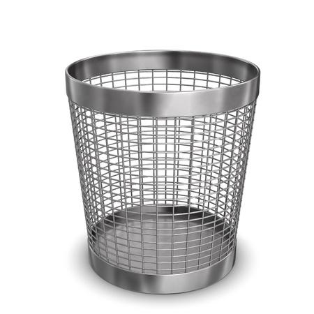 wastebasket: Illustration of steel wastebasket. White background.