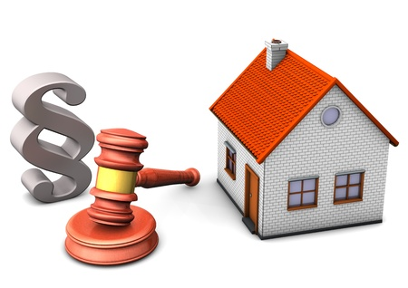 A house with paragraph and hammer on the white background  Stock Photo - 15643911