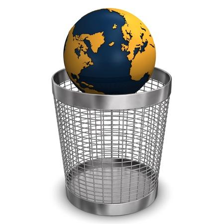 wastebasket: Globe in wastebasket on the white background  Stock Photo