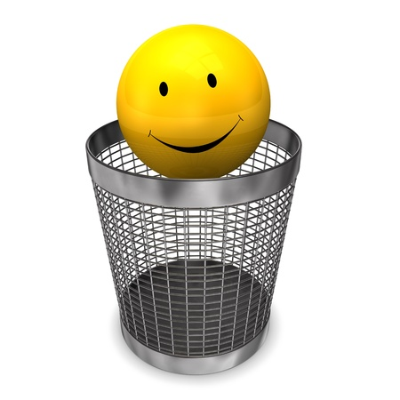 wastebasket: Yellow smile in the wastebasket on the white background
