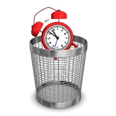 wastebasket: Red alarmer in wastebasket on the white background  Stock Photo