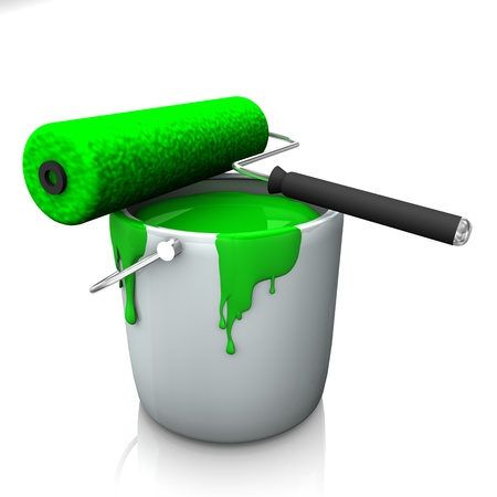A bucket with green colour and roller on the white background  Stock Photo - 15733154