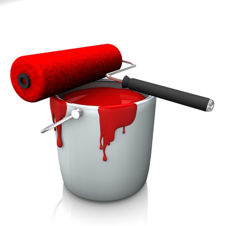 A bucket with red colour and roller on the white background Stock Photo - 15733153