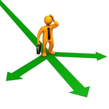instructions: Personaggio dei cartoni animati arancione sulle frecce verdi e cravatta nera e sfondo nero bianco caso
