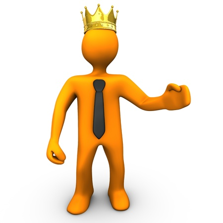 Orange cartoon character with golden crown and black tie  White background  Stock Photo