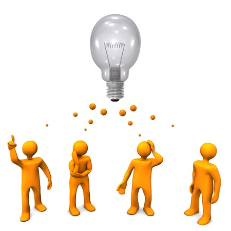 deployment: Orange cartoon characters with a big bulb  White background  Stock Photo