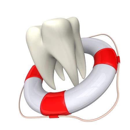lifebelt: Lifebelt and white tooth on the white background  Stock Photo