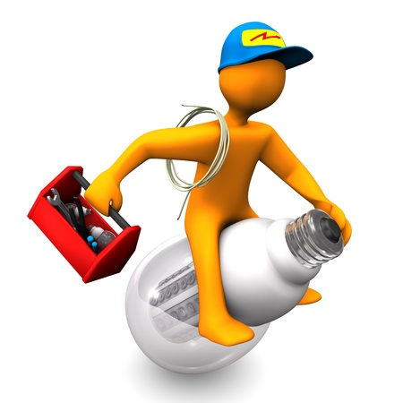 electrician with tools: Orange cartoon character as electrician, rides on the LED-Lamp  White background  Stock Photo