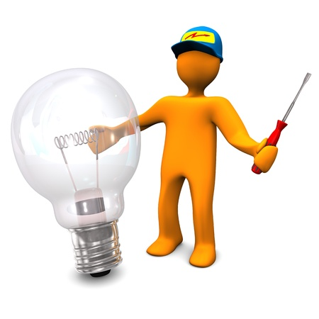 Orange cartoon character as electrician phones with old lamp  White background  photo