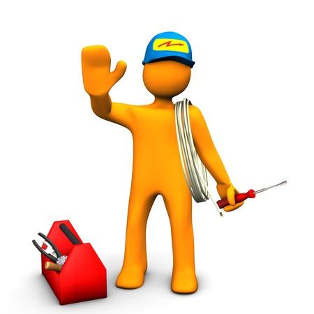 Oranje cartoon karakter als elektricien met gereedschapskist en kabel Witte achtergrond