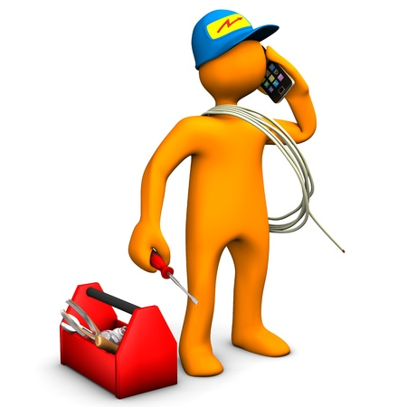 electrician tools: Orange cartoon character as electrician phones with smartphone  White background