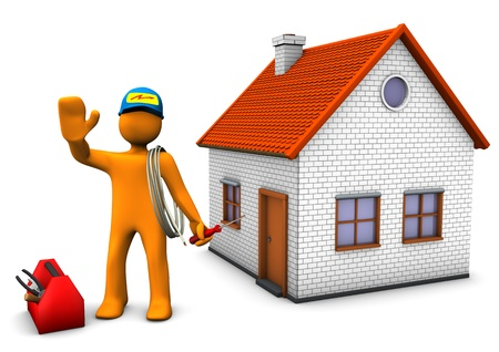 Orange cartoon character as electrician with toolbox and house  White background  Stock Photo