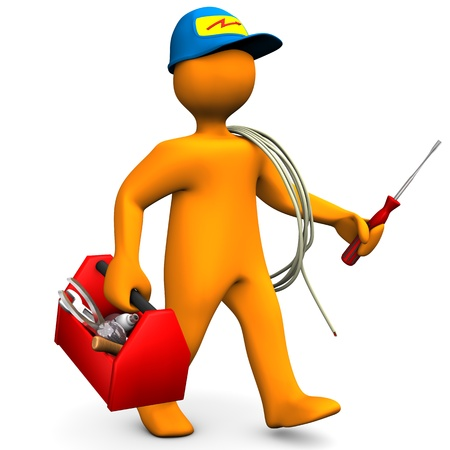 marioneta: Personaje de dibujos animados Orange como electricista con caja de herramientas y cable de fondo blanco Foto de archivo