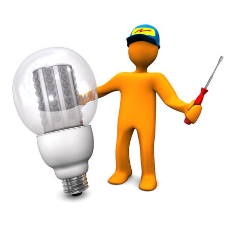 electrician with tools: Orange cartoon character as electrician phones with LED lamp  White background  Stock Photo