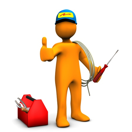 best employee: Orange cartoon character as electrician with OK Symbol  White background  Stock Photo