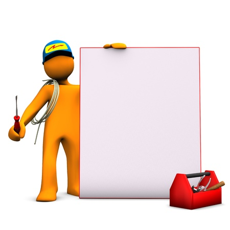 toolbox: Orange cartoon character as electrician with signboard and cable  White background  Stock Photo