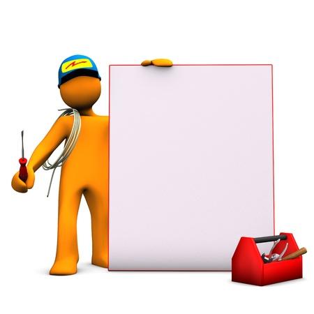 perito: Personaje de dibujos animados Orange como electricista con el letrero y el fondo blanco cable