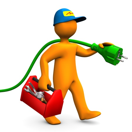 perito: Personaje de dibujos animados Orange como electricista con caja de herramientas y fondo blanco conector Foto de archivo
