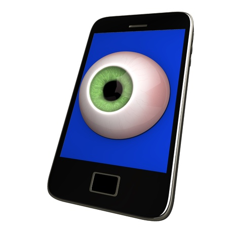 protection plan: Black smartphone with eye  White background
