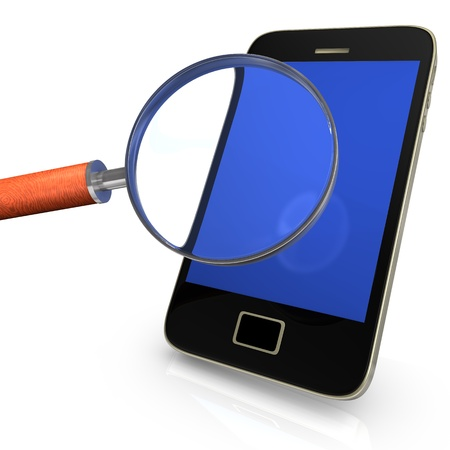 Black smartphone with loupe on the white background  Stock Photo