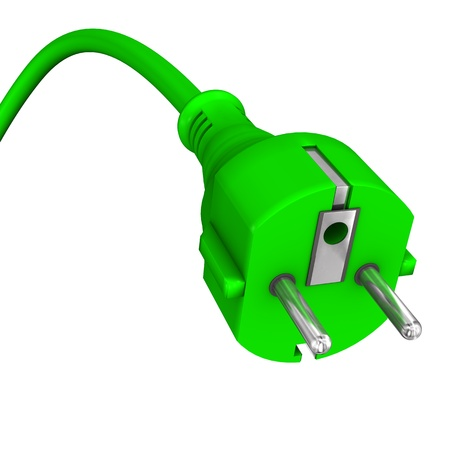 electric plug: 3d illustration of green plug on the white background