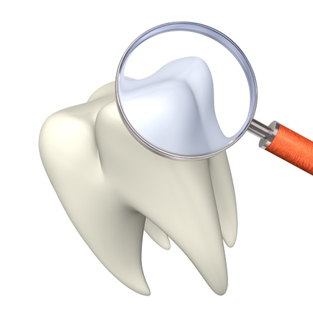 White tooth with loupe on the white background  Stock Photo - 15800939