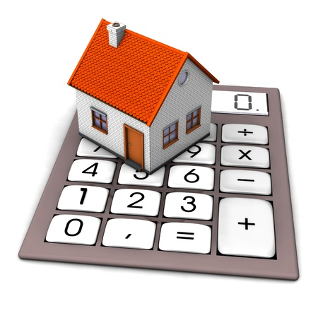 brokerage: A house on the big pocket calculator. White background. Stock Photo